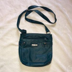 Small teal cross body purse